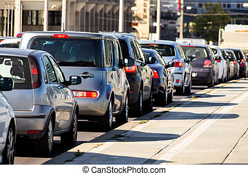 traffic jam in the city - in rush hour traffic jam on a road...