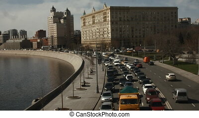 Traffic jam in the city. Time Lapse. Problems of the modern city.
