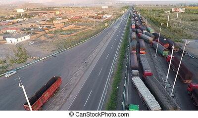 Traffic jam of trucks on the border countries
