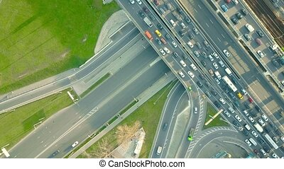 Traffic jam on a car road in the rush hour - Aerial top down...