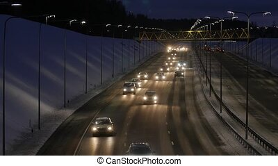 Traffic jam on a highway at night.