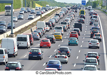 Traffic jam on german highway. Current discussion about toll collect for foreign cars due to the claim of bavarias prime minister Host, Seehofer