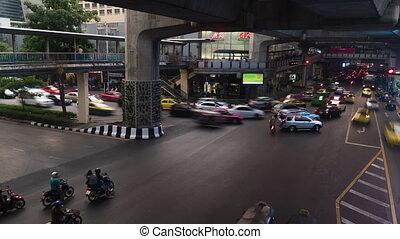 Traffic jam on street intersection, Bangkok. Time lapse...