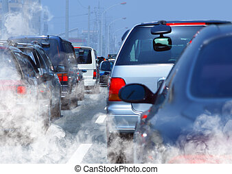 traffic jam - pollution of environment by combustible gas of...