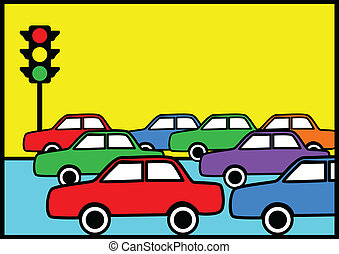 Traffic Jam - Pop art illustration of traffic jam