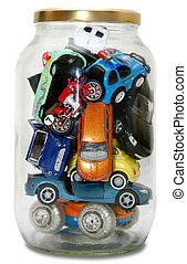 "traffic jam - ""Traffic Jam\""ed in transparent jar with lid..."