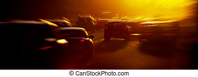 Traffic jam - Urban traffic jam at the evening, sunlight