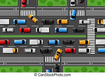 Traffic jam vector city freeway, cars congestion