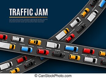 Traffic jam vector poster with cars driving road
