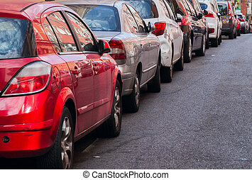 traffic jam with row of cars on expressway during rush hour