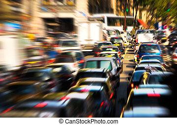 Traffic jam. Zoom blur effect.
