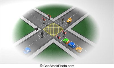 Traffic junction - Road traffic light concept animation.