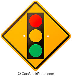 Traffic Lamp - Traffic lamp banner warns traffic lamp ahead.