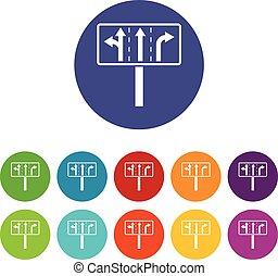 Traffic lanes at crossroads junction set icons