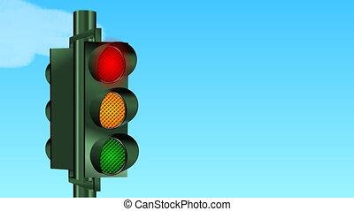 traffic lght - traffic light ahd blue sky