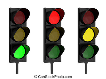 Traffic light - 3d rendering traffic light on white ...