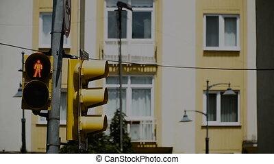 Traffic light. A traffic light shows a red light