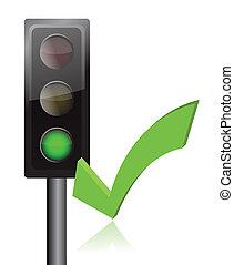 traffic light and checkmark illustration design