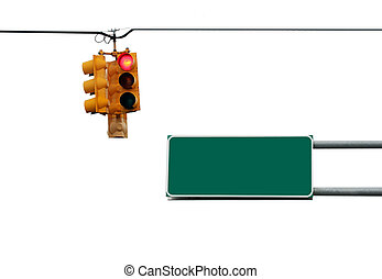 Traffic light and sign - Traffic light and road sign...