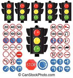 traffic light and traffic sign vector illustration