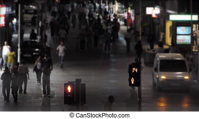 Traffic light at night.