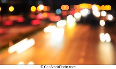 Traffic, light blur timelapse - Traffic on the road, Bangkok...
