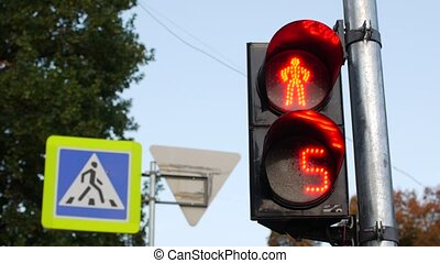 traffic light changes its color. Electronic scoreboard