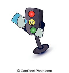 Traffic light character cartoon illustration with phone. Design template vector