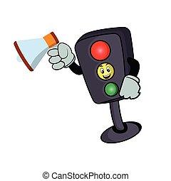 Traffic light character cartoon with megaphone. Design template vector