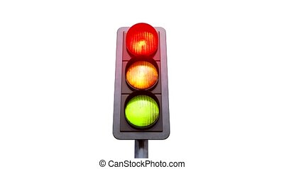 Traffic light color change from red in yellow and green with...