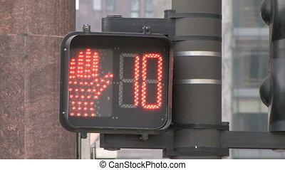 Traffic Light Countdown - Red Pedestrian Traffic Light in...