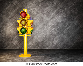 traffic light - yellow traffic light on a grunge background