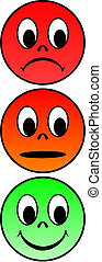 Traffic light faces - Vector of traffic lights with various...