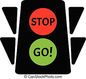 Traffic Light Flat Design Transportation Control Green And Red Stop Go Text Illustration Vector