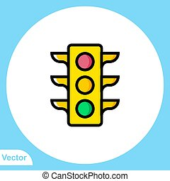 Traffic light flat vector icon sign symbol