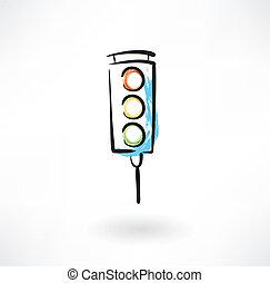 traffic light grunge icon