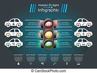 Traffic light icon. Business, travel inofgraphic. Paper illustration.