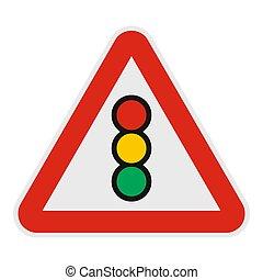 Traffic light icon, flat style.