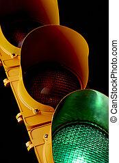 Traffic light-Illuminated Green - Close up of traffic light...