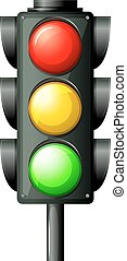 Traffic light - Illustration of the traffic light on a white...