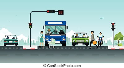 traffic light - Traffic lights and people crossing streets...