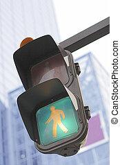 Traffic light in a city
