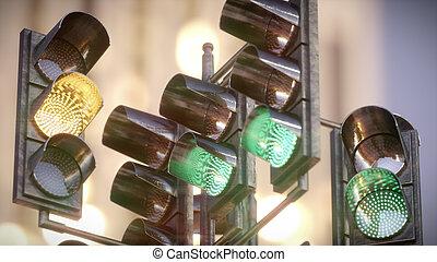Traffic light in the city. 3d illustration