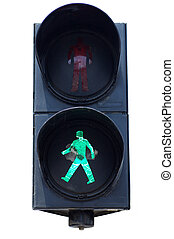 Isolated green pedestrians traffic light