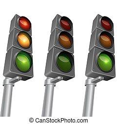 Traffic light isolated on white background vector illustration.