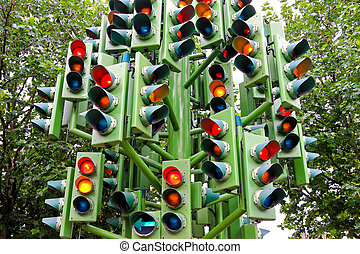 Traffic light - Lot of traffic lights at big pole