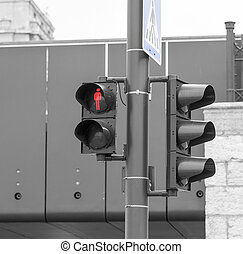 Traffic light on a pedestrian crossing.