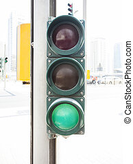 traffic light on green color in the city
