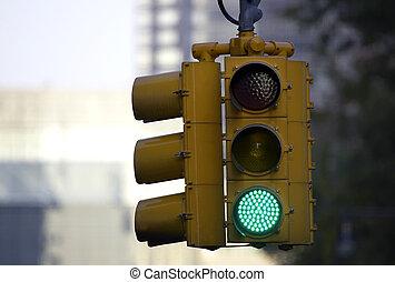 Traffic light on green, Manhattan, New York, America, USA