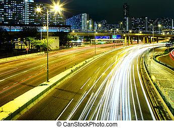 Traffic light on highway at night